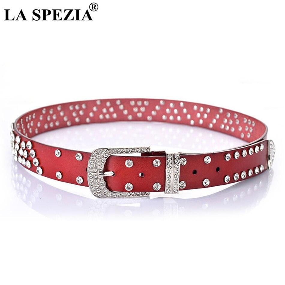 LA SPEZIA boucle ardillon ceinture pour femmes strass marque en cuir ceintures dames mode rouge Pu cuir femme diamant taille Jeans ceinture