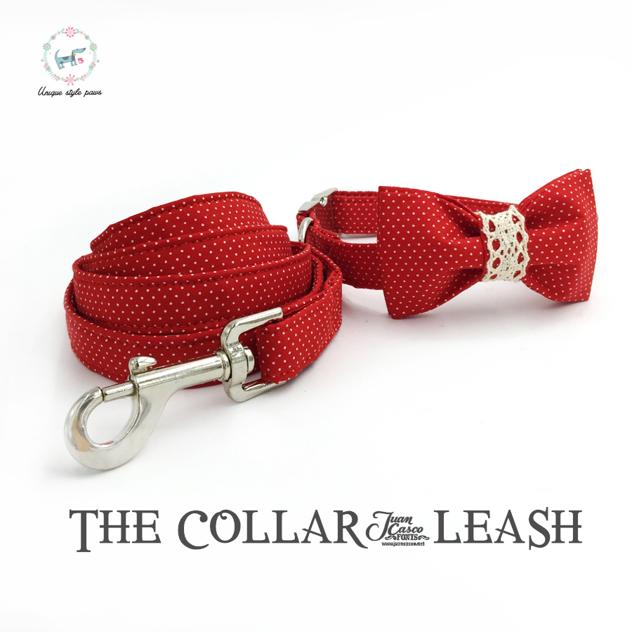 röd dot hund krage och koppel set med slips personliga anpassningsbara hund älskling 100% bomull hund tillgång