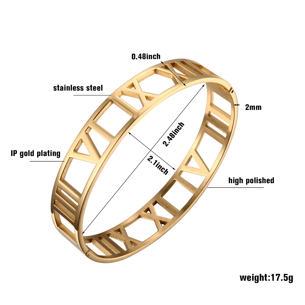 Cuff Bangles Bracelets For Woman 12MM Roman Numerals Stainless Steel Gold Plating Bangle Female Male Jewelry Wristband Gift in Bangles from Jewelry Accessories