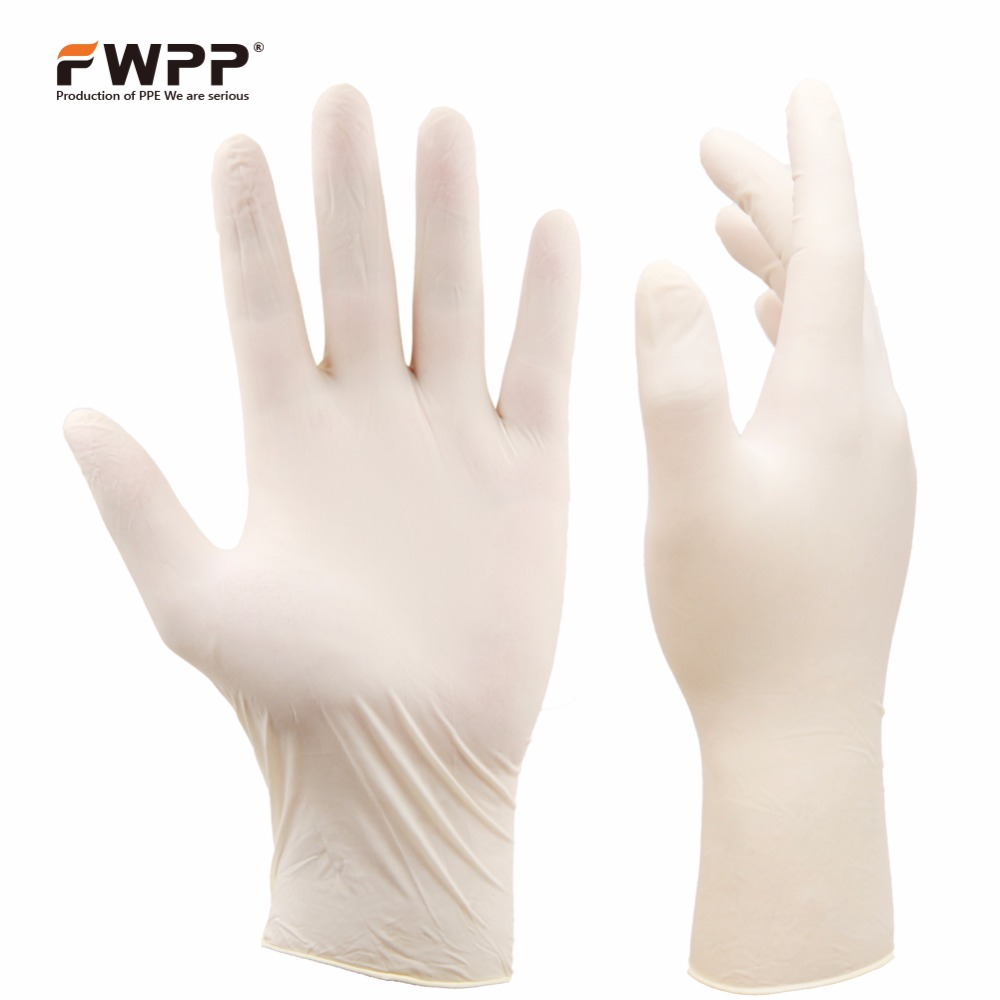 FWPP Disposable Latex Surgical Gloves,Powder Free Dental Exam Medium Glove ,Pack of 100Pcs,Milky White accutouch latex exam gloves p f polylined x small 10 boxes of 100 case
