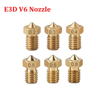 E3D V5 V6 Nozzle 0.2mm 0.3mm 0.4mm 0.5mm Copper for 1.75mm Filament M6 Threaded Brass 3D Printer Extruder Parts