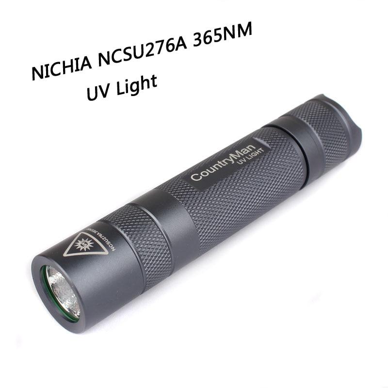 CountryMan nichia UV 365nm mini led flashlight,18650,3W rechargeable waterproof latarka OP reflector,Fluorescent agent detection