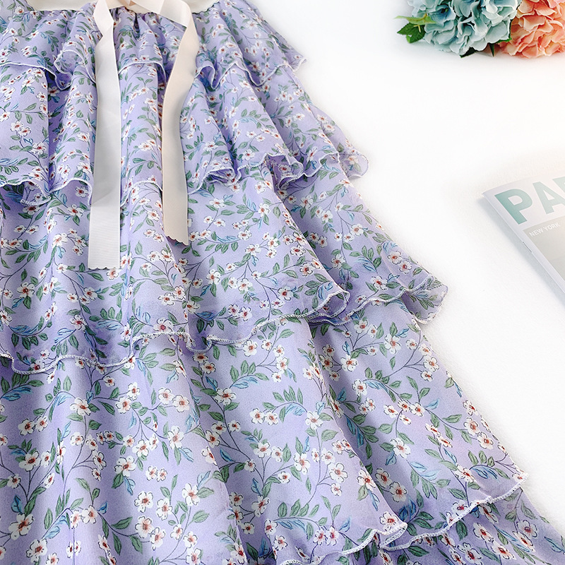 Wasteheart Spring Pink Blue Women Skirt Chiffon High Waist A-Line Ankle-Length Long Skirts Bud Clothing Flower Printed Skirts