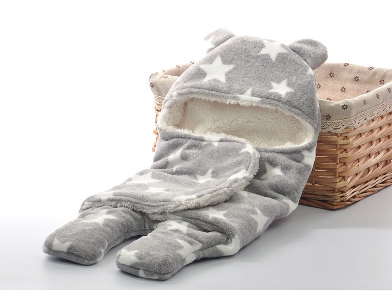 Newborn-Sleepsacks-Winter-for-Stroller-Heavy-Baby-Swaddle-Blanket-With-Star-White-Fleece-Baby-Sleeping-Bag-Bedding-Accessories-4