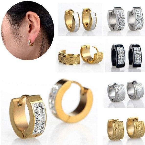 2pcs Punk Men Women Stainless Steel Hoop Earrings Cz Crystal Gold Silver Ear Studs Huggie