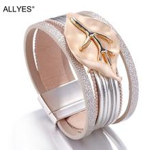 ALLYES Leather Bracelets For Women 2019 Metal Leaf Charm Ladies Boho Multilayer Wide Wrap Bracelet Female Femme Jewelry