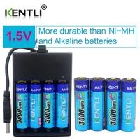 KENTLI 8pcs 1 5v 3000mWh AA Rechargeable Li Polymer Li Ion Polymer Lithium Battery 4 Slots