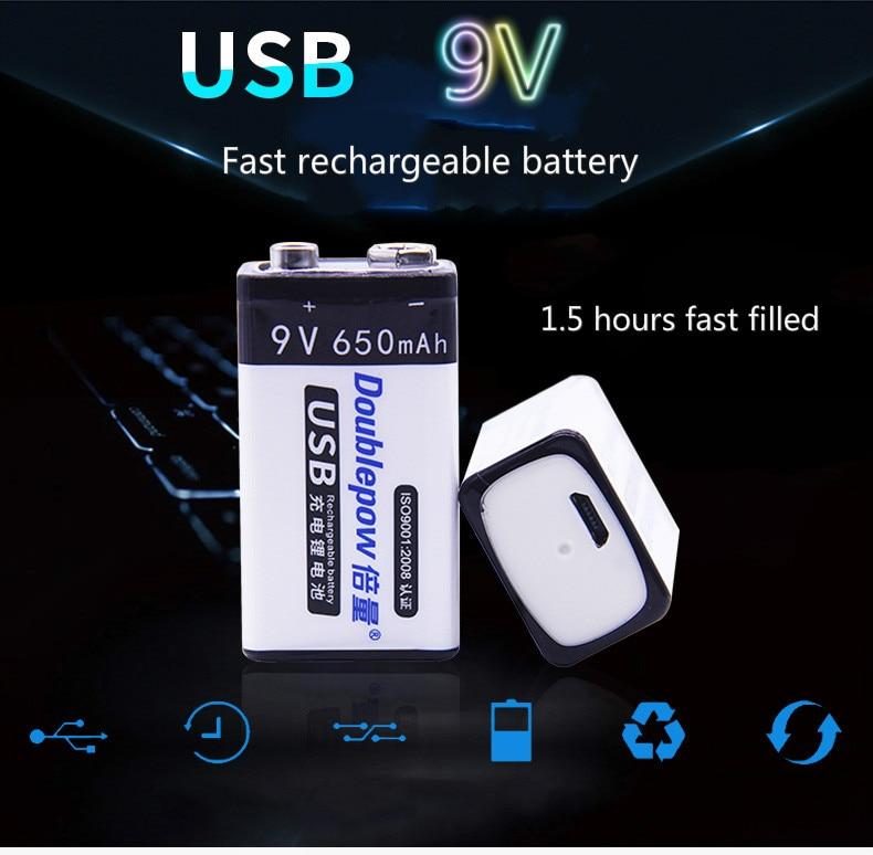 1 pcs. 9V original Doublepow USB battery 6F22 9V 650 mAh wireless microphone KTV tool using smart battery