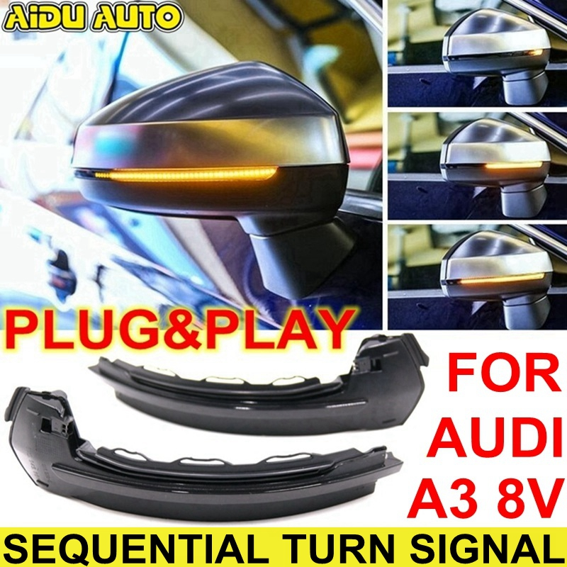 LED Flowing Rear View Dynamic Sequential MIRROR Turn Signal Light For Audi A3 8V puma free flowing