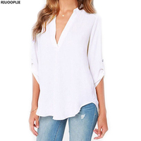 RIUOOPLIE Female V Collar Sexy Long Sleeves Wrinkled Sleeves Loose Chiffon Shirt Coat Large Size Leisure