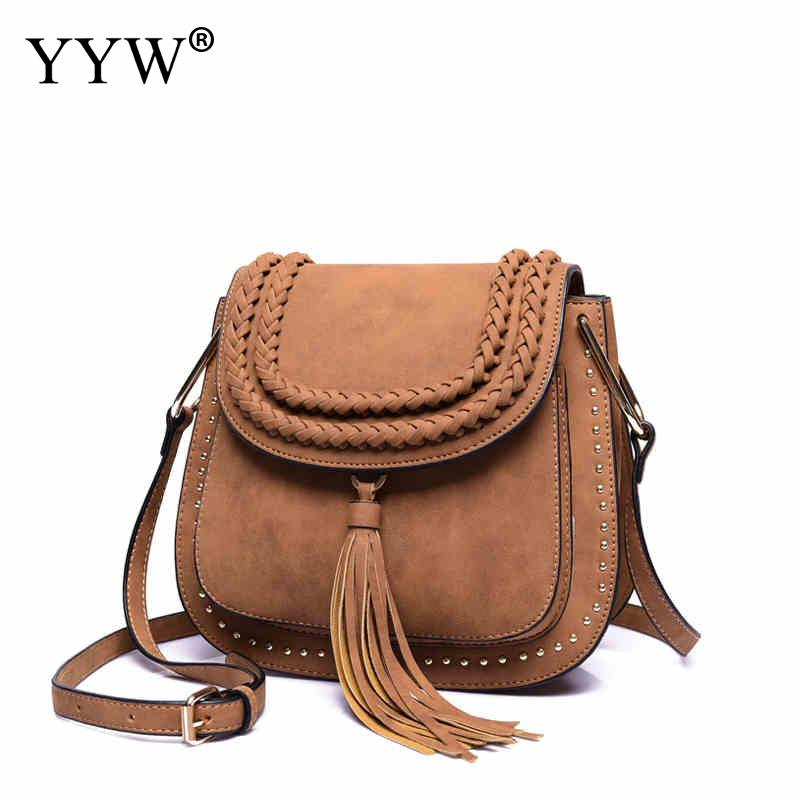 Tassel Brown Crossbody Bag for Women Brand Luxury Pink Women's PU Leather Handbags Famous Brands Lady's Messenger Shoulder Bag
