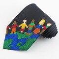 10 cm de largura preto impressão gravata nova moda de lazer As crianças do projeto da paz Das Nações Unidas dos homens laço formal