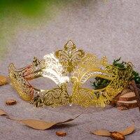 Filigrana máscara de diablo cráneo mascarada veneciana oro carnaval traje Halloween máscara laser cut metal máscara de Carnaval