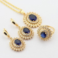 WPAITKYS Blue Created Sapphire White CZ Gold Color Jewelry Sets For Women Dark Earrings Necklace Pendant