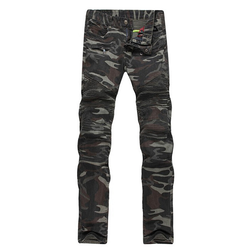 Men's Casual Camouflage Pockets Skinny Biker Jeans Male Zippers Military Stretch Style Army Green Slim Denim Pants Long Trousers
