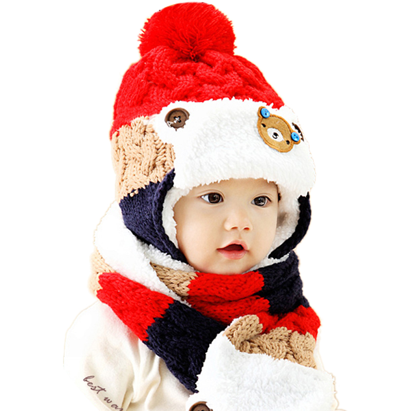 Baby Winter Hat and Scarf Set Very Warm Infant Beanie Cap for Children Boys Girls Cartoon Style Kids Crochet Knitted Shawl