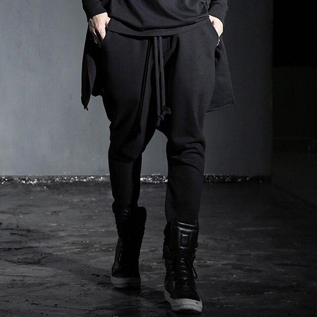 Мужские шаровары брюки высокое качество мужчины моды случайные брюки панк-рок хип-хоп мужчины штаны брюки креста