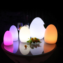Waterproof Egg Shape RGB LED Night Lights Rechargeable 16 Color Outdoor Garden Led Bar KTV Table Lamp With Remote Controller led night lights egg lamp christmas decor rgb color change home bar furniture set d14 h19cm free shipping 20pcs lot