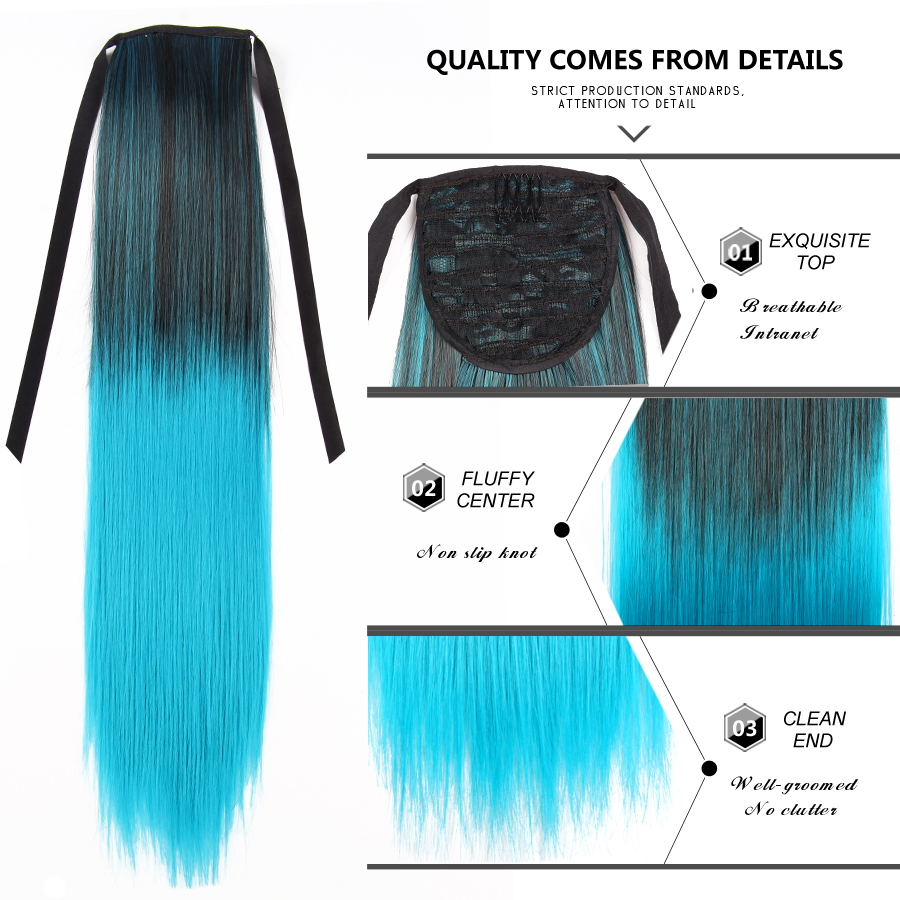 S-noilite 23 Drawstring Ponytail Hair Extension Clip In Synthetic Hair Women Straight Hairpiece Wrap Around Tail Blonde Red Good Reputation Over The World Synthetic Extensions Synthetic Ponytails