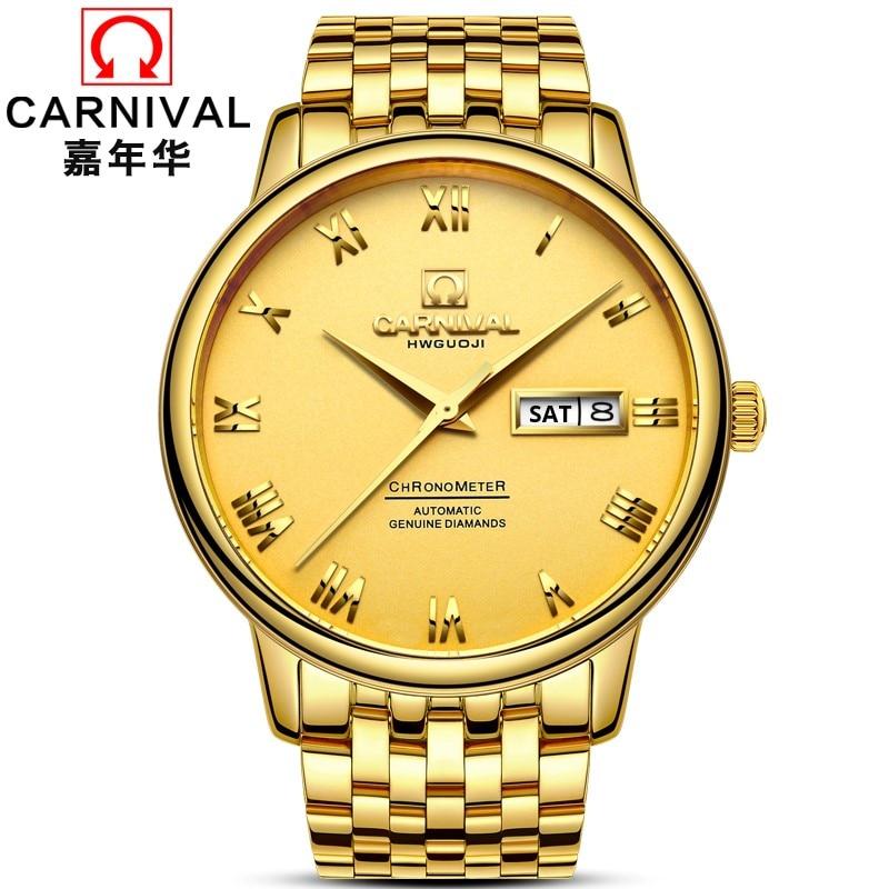 Carnival Luxury Gold Business Men Watch Week Calendar Auto mechanical Watches men Calendar Sapphire Waterproof Fashion Casual