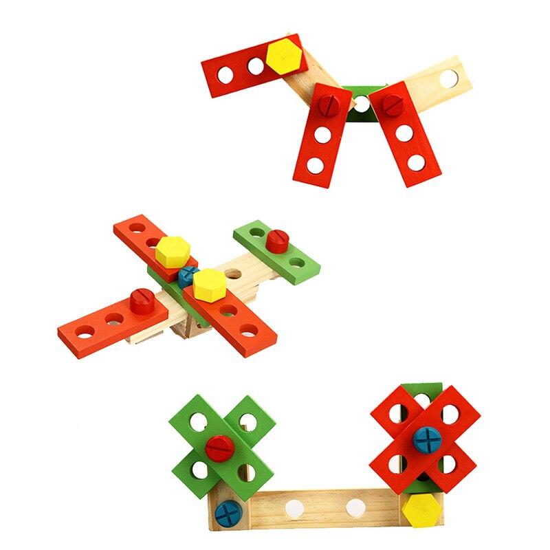Wood Series Building Blocks DIY Portable Multifunctional Simulation Tool Kit Set Kids Educational Pretend Play Disassembly Toys