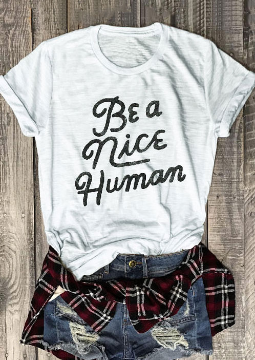 Be A Nice Human t-shirt triblend Unisex Unbasic Tee Funny graphic t shirt Red Wine 90s women fashion tshirt goth style gift tops