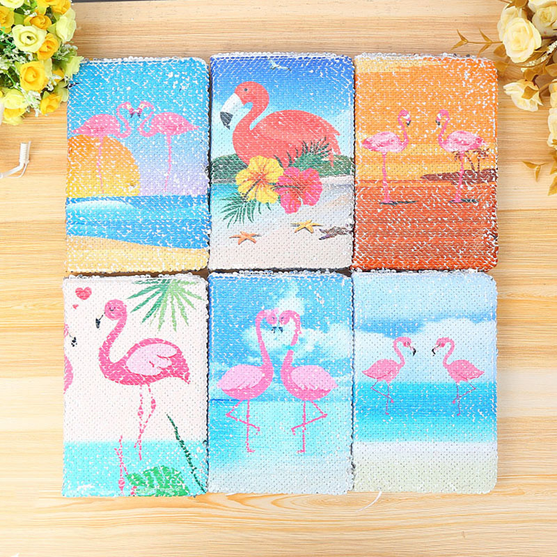 78 Sheets Creative Cute Colorful Sequins Flamingos Notebook Fashion Daily Memos Notepad Fantasy Office Business Notebook vintage creative the twilight saga breaking dawn notebook with magnetic snap fashion trend retro hardcover notepad memos