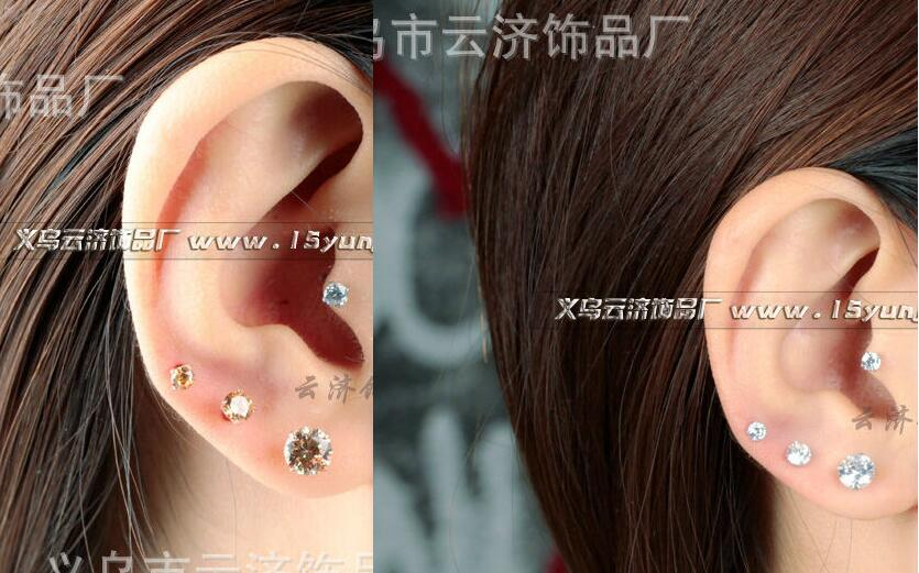 New Arrival Fashion Jewelry women zircon rose gold silver Stainless Steel Inlaid CZ gem Accessories Man Woman Stud Earrings Male