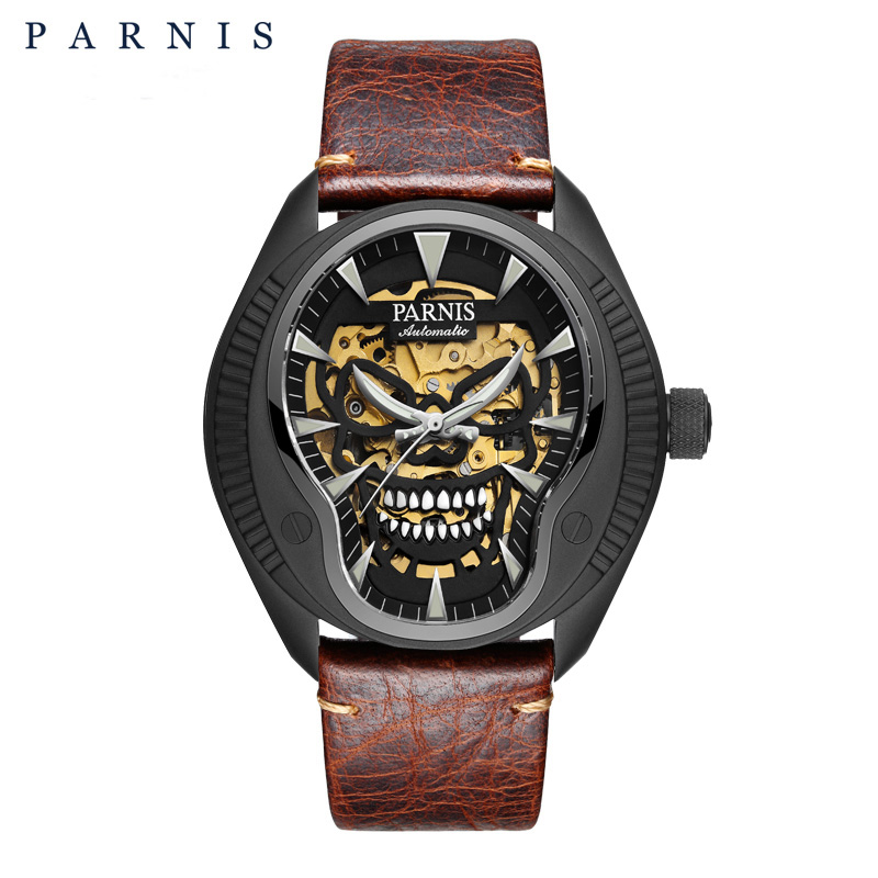 PARNIS 43mm Black Case Skull Skeleton Dial Men Mechanical Automatic Watches Luminous Men's Watch Top Brand Luxury 2019 Man Clock