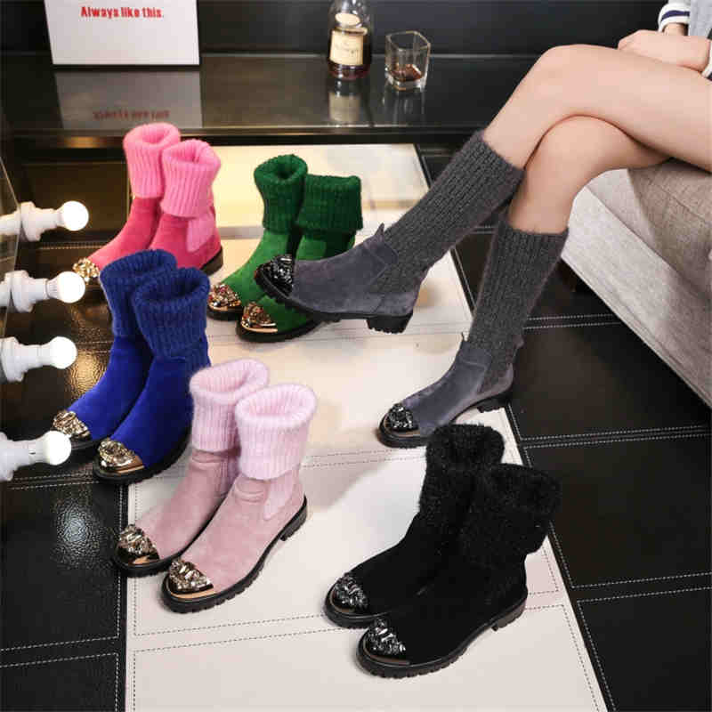 MIQUINHA Crystal Embellished Metal Toe Women Sock Boots Short Booties Low Heel Mid-calf Boots Brand Star Runway Leather Shoes miquinha round toe women boots mixed color short booties luxury brand women cool runway fashion star high heel boots buckle shoe