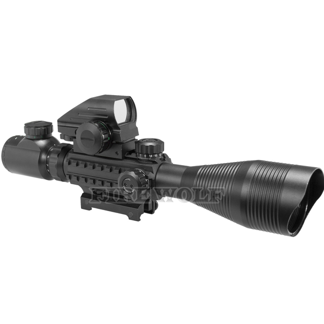 FIRE WOLF 4-12x50 Illuminated Rangefinder Reticle Rifle Scope Holographic 4 Reticle Sight 11mm 20mm Red Laser Combo Riflescope 2