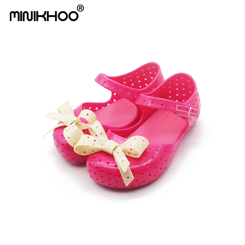 Mini Melissa 4Color Cute Bow Girls Jelly Sandals 2018 Summer Children Shoes Baby Princess Lovely Sandals Non-slip 14.5cm-17cm