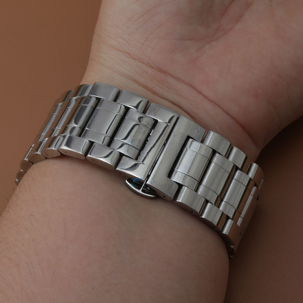 High Quality Stainless Steel Watch Band Strap Silver Bracelet Big Size 24mm  26mm 28mm 30mm Polished