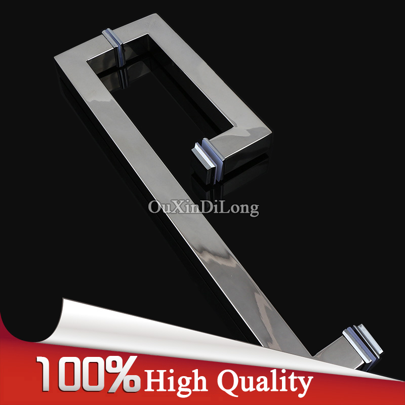 Luxury 304 Stainless Steel Frameless Shower Bathroom Glass Door Handles L Shape Pull / Push Handle Towel Bar Glass Mount Chrome entrance door handle solid wood pull handles pa 377 l300mm for entry front wooden doors