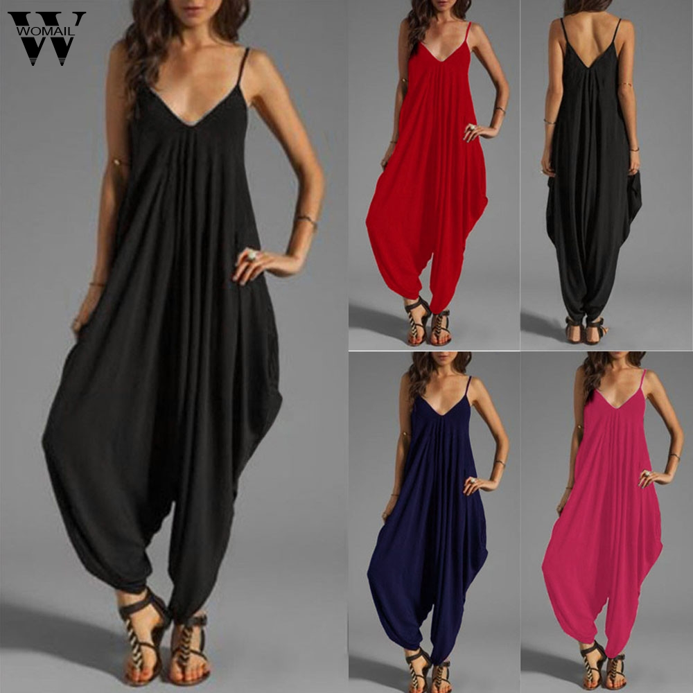 Womail bodysuit Women Summer Fashion V Neck Camisole Thin Loose Strap Strappy Baggy   Jumpsuit   Playsuit new 2019 dropship M4