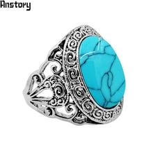 Овальный камень улитка цветок Кольца для Для женщин Винтаж Посмотрите Античная Посеребренная Модные украшения