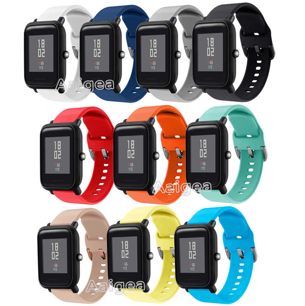 Correa de reloj de silicona suave para Xiaomi Huami Amazfit Bip BIT Ritmo ligero brazalete deportivo de repuesto para jóvenes correa de muñeca de 20mm