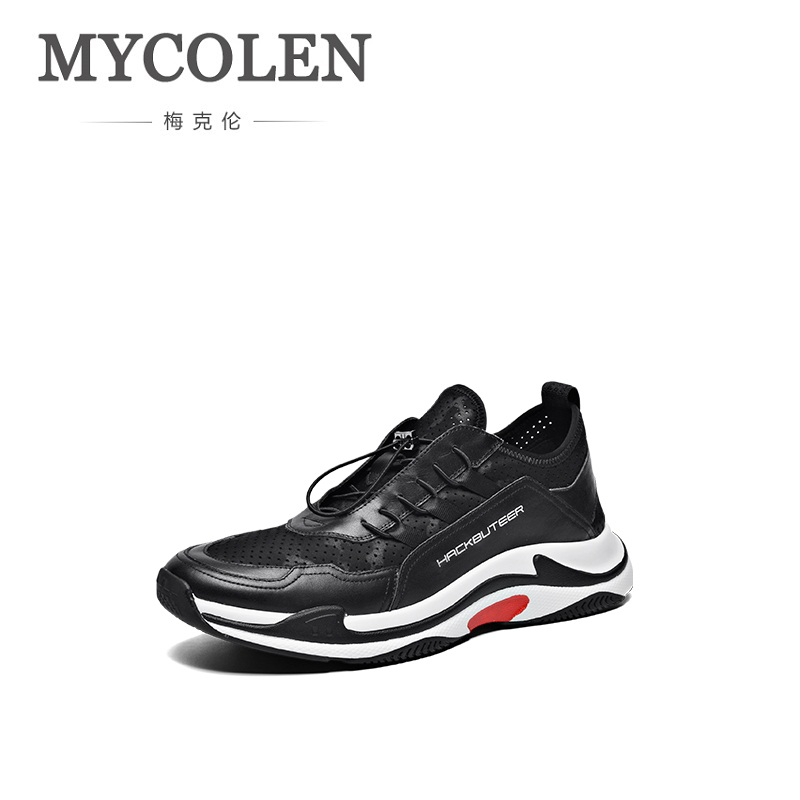 MYCOLEN Hot Sale Mens Casual Shoes Genuine Leather Fashion Men Shoes Luxury High Quality Design Elastic Band Leather Shoes Men
