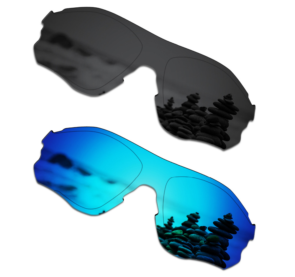 SmartVLT 2 Pieces Polarized Sunglasses Replacement Lenses for Oakley EVZero Path Stealth Black and Ice Blue