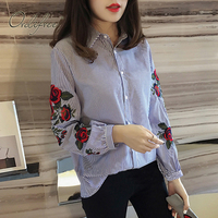 Ordifree 2017 Spring Loose Blouse Flower Embroidered Female Shirt Plus Size XXL XXXL 4XL Floral Embroidery