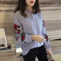 Ordifree 2017 Beiläufige Lose Bluse Blume Bestickt Weibliches Hemd Plus Größe XXL XXXL 4XL Blumenstickerei Frauen Gestreiftes Hemd
