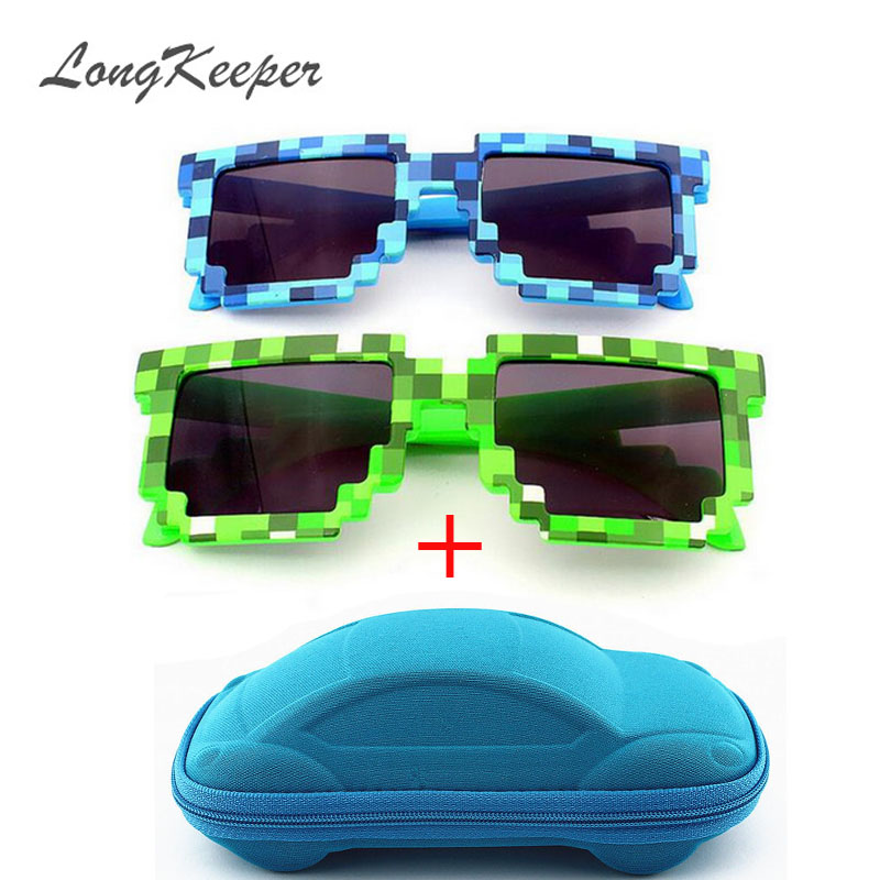 LongKeeper Vintage Square Novelty Mosaic Sun Glasses Unisex Pixel Solbriller Trendy Glasses With Case Children Gift