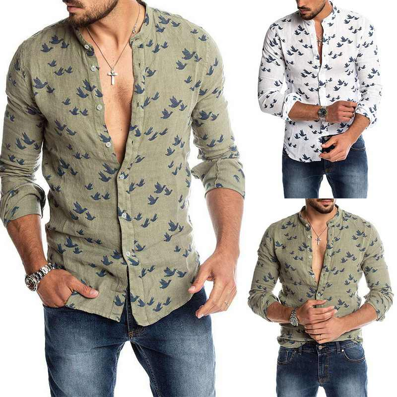 Litthing Men's Breathable Shirt Men's Caual Shirt Hawaiian Long Sleeve V-Neck Pocket Shirts Tops Blouse M-3XL Loose