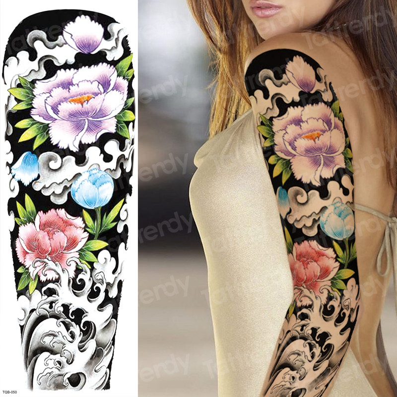 Waterproof Temporary Arm Sleeve Tattoo Japanese Temporary Tattoos Flower Peony Tattoo Women Sexy Large Tatoo Big Size Body Art