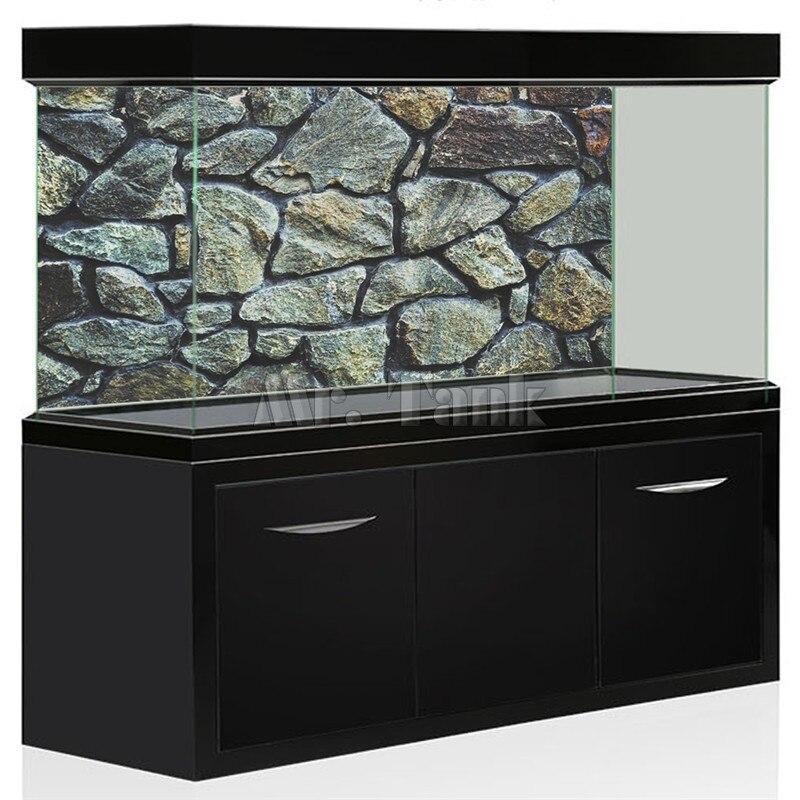 Monsieur. Réservoir 3D Effet Aquarium Fond Affiche HD Rock Pierre PVC Aquarium Paysage Image Décorations Toile De Fond