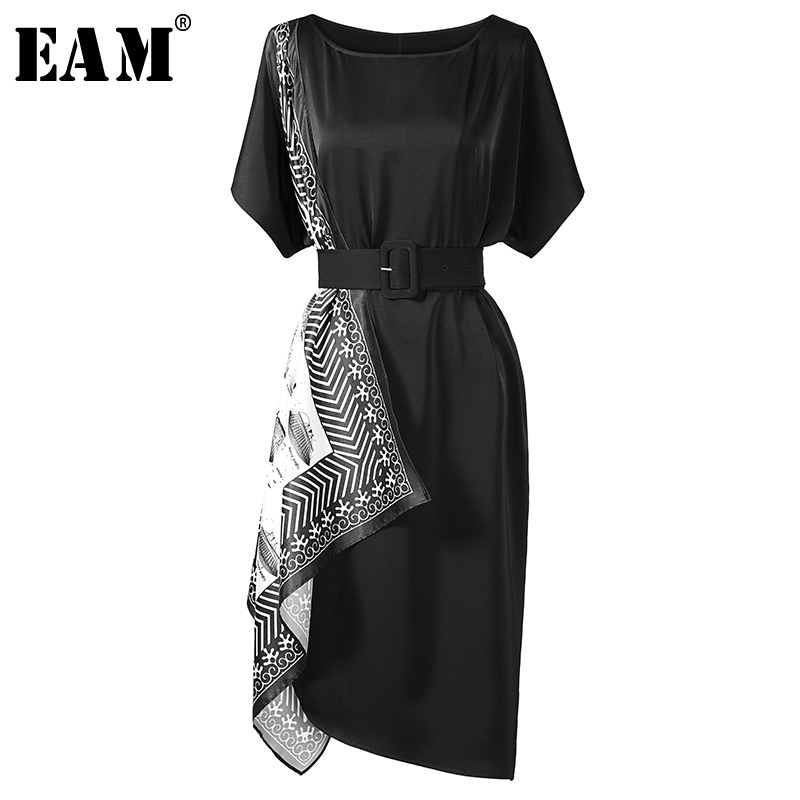 [EAM] 2019 New Spring Summer Round Neck Short Sleeve Black Pattern Printed Irregular Loose Dress Women Fashion Tide JW393