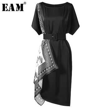 [EAM] 2019 New Spring Summer Round Neck Short Sleeve Black Pattern Printed Irregular Loose Dress Women Fashion Tide JW393 - DISCOUNT ITEM  17% OFF All Category