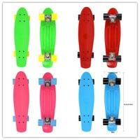 22inches Retro Classic Cruiser Style Skateboard Complete Deck Four PU Wheels Plastic Mini Skate Board For