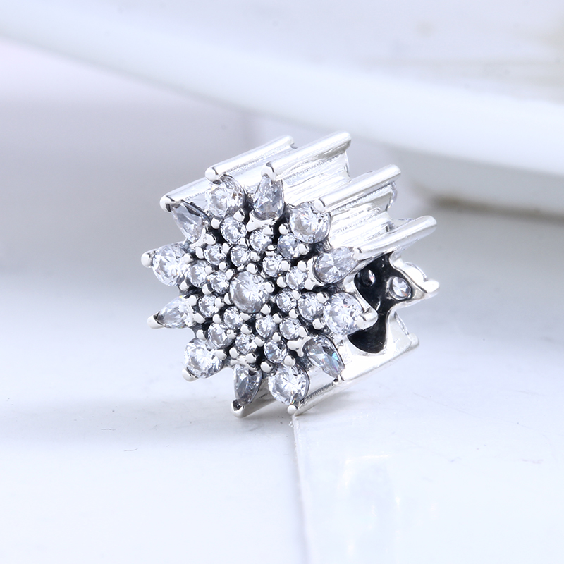 New Fashion DIY Jewelry Beads for Jewelry Making Ice Crystal Charm Clear CZ Charms Fit Pandora Original Silver 925 Bracelets