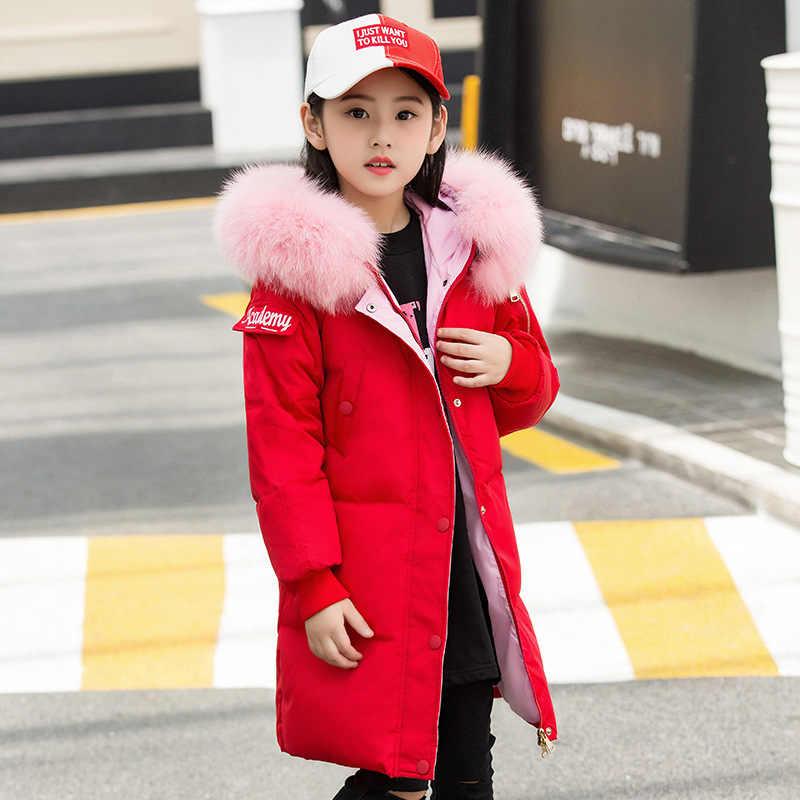 2019 модная одежда для девочек-30 градусов зимние куртки на утином пуху детские пальто теплая плотная одежда детская верхняя одежда для холодной погоды, парка
